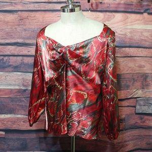 Lane Bryant polysatin blouse